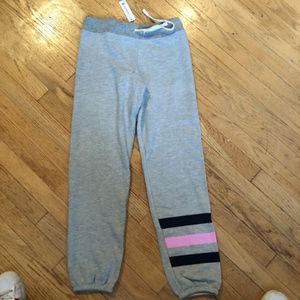 Sundry Rare Heart Striped Gray Sweatpants S